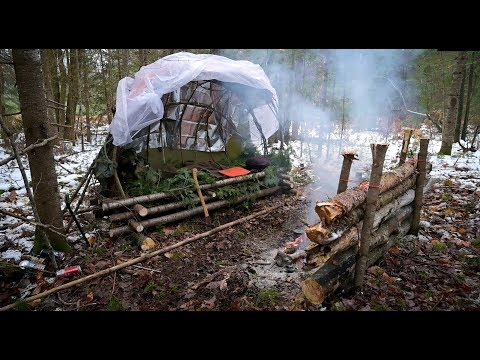 Solo Winter Bushcraft Camp-Minimal Gear Supershelter Build in a Snowy Forest