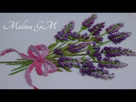 Lavender Bouquet    Floral Embroidery    step by step