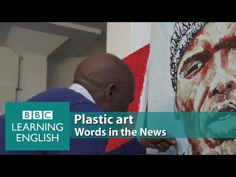 Plastic art. Learn: melted, canvas, afford, unique recycling