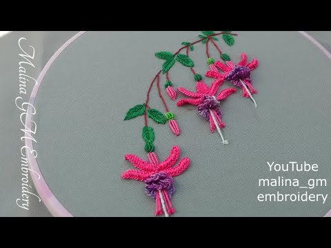 Brazilian flower embroidery   How to embroider fuchsia   #shorts