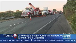 Jackknifed Big Rig Causes Major Delays On Highway 99 Towards Galt