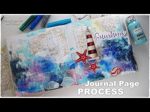 Seaside Journal Collage Page Art Process ♡ Maremi's Small Art ♡