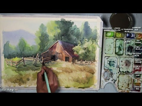 Watercolor Farm House Landscape Painting step by step