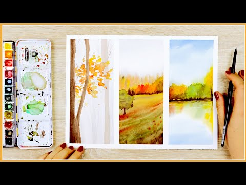 Simple Loose Fall Watercolor Painting Ideas Step by Step Tutorial