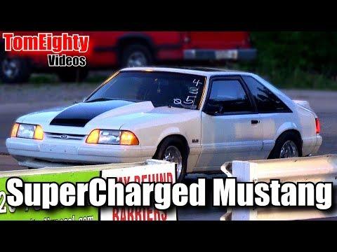 Supercharged Mustang Drag Racing