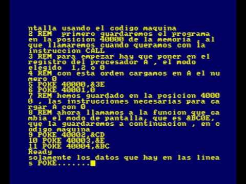 CODIGO MAQUINA AMSTRAD CPC #1 ELEGIR EL MODO DE PANTALLA