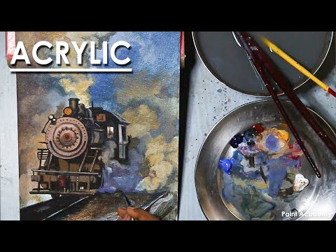 Acrylic Painting : A Composition on Steam Engine