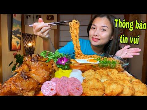 Ăn set mì cay Tokkboki chả mực,gân bò cháy tỏi bơ satế,nem chua,củ cải vàng #738