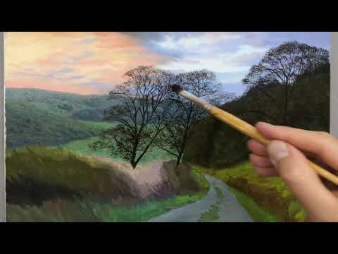 Oil Painting Lesson | Painting Winter Trees Over A Sunset Landscape | Episode #141