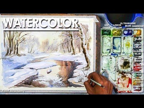 Winter Lake- Watercolor Painting Artist-Composer: Supriyo Mondal