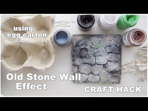 DIY Old Stone Wall Effect ♡ Craft Life Hack ♡ using egg carton ♡ Maremi's Small Art ♡