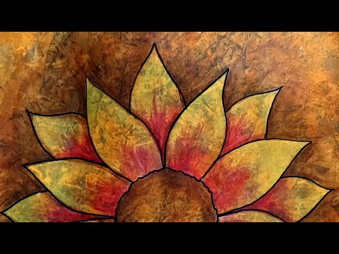 Acrylic Painting Autumn Flower with Abstract Visual Texture