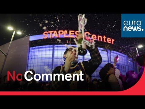 Ecstatic fans celebrate Lakers' NBA championship win