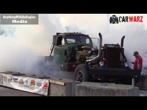Old Truck With Huge Motor Burnout At Rod Benders Burnout Competition