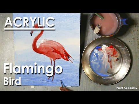 Acrylic Painting : Bird – Flamingo