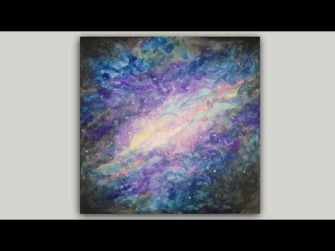 Nebula Watercolor Painting Galaxy and Stars Painting Demonstration