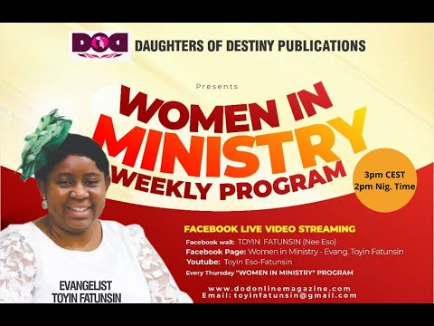 WOMEN IN MINISTRY WEEKLY PROGRAM - SPECIAL CHARGE