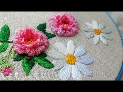 Large daisies & pattern | hand embroidery for beginners