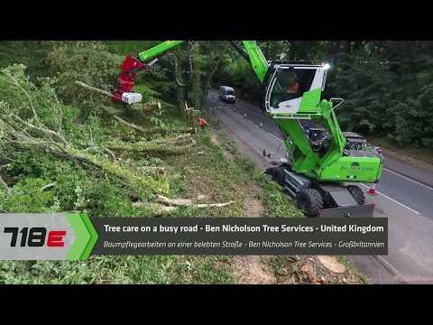 SENNEBOGEN 718 E-Series - Tree care on a busy road, Ben Nicholson Tree Services Ltd., UK