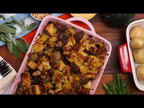 Maple Hazelnut Squash and Sausage Stuffing