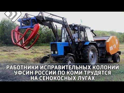Работники и техника исправительных колоний Коми активно трудятся на сенокосных лугах