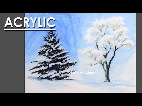 How to Paint Beautiful Winter Trees in Acrylic | step by step Artist-Composer: Supriyo