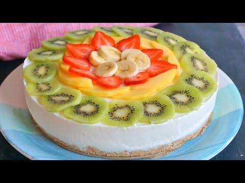 Tarta de queso y frutas. Receta SIN HORNO