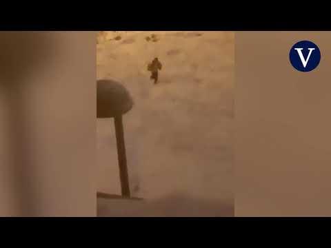 Un grupo de ladrones saquea un camión cargado de comida que quedó atrapado en la nieve