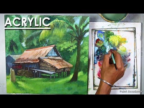 Acrylic Painting : How to Paint A Beautiful Realistic House Landscape