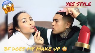BOYFRIEND DOES MY MAKEUP USING YESSTYLE!!