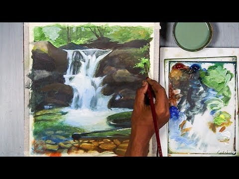 How to Paint Waterfall in Acrylic step by step