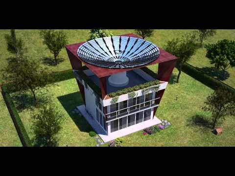 House with solar heliostats