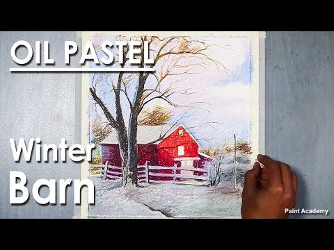 Winter Barn - A Composition on Oil Pastel step by step