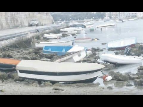 Breaking Atmospheric Tsunami Hits Malta Ocean Waves Smashing Boats