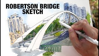 Robertson Bridge (Sketching Bridges of Singapore River)
