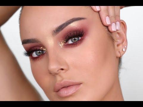 Wearable Editorial Makeup! Burgundy Eyes & Gold Flakes - UCLFW3EKD2My9swWH4eTLaYw