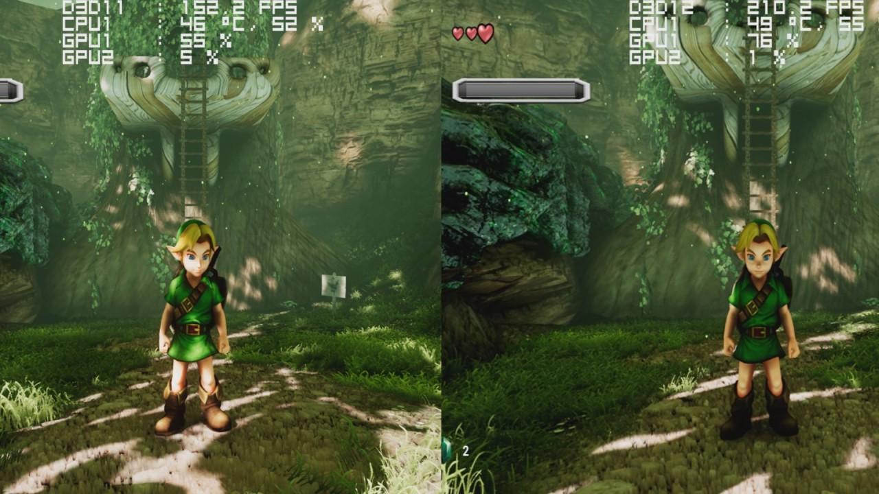 Unreal Engine 4 - Ocarina Of Time - DX11 vs DX12 Framerate