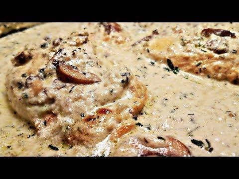 Creamy Garlic Mushroom Chicken Recipe   One Pan Chicken Recipe   Garlic Herb Mushroom Cream Sauce