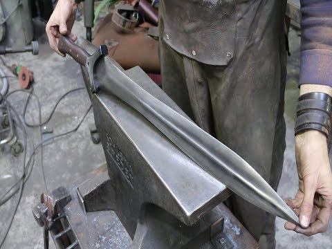 Forging a Bronze Age style sword from a semi truck leaf spring, part 3 - default