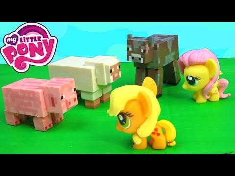 MLP Fashems Apple Jack Fluttershy My Little Pony MineCraft Game Animals Pig Cow Sheep Chicken Farm - UChSmIRtYVNZghB7J5kOt8Ng