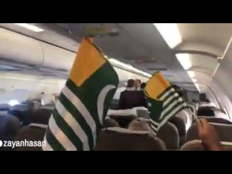 PIA Flight Attendants Distributed Kashmir Flags To The Passengers At Kashmir Day