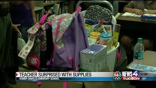 Teacher surprised with supplies