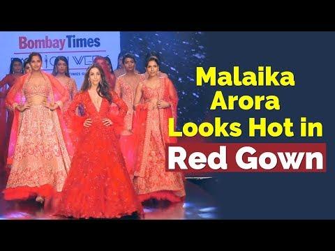 Malaika Arora Ramp Walk in Deep Neck Red Dress   Celeb Looks