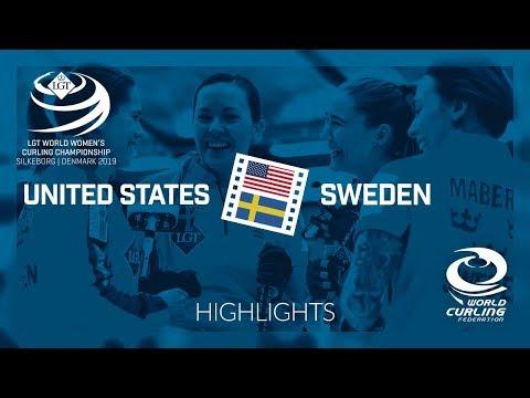 HIGHLIGHTS: United States v Sweden - round robin - LGT World Women's Curling Championship 2019