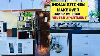 Indian Kitchen Makeover Under Rs.5000| Kitchen Tour| Rental Friendly Kitchen Makeover