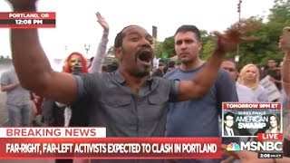 Portland Protesters On Both Sides Stay Relatively Calm