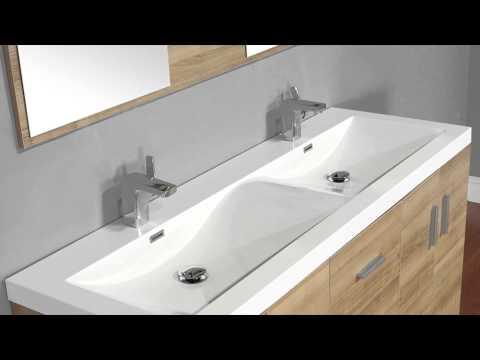 "Alya Bath AT-8043-LO 56""Double Modern Bathroom Vanity | Light Oak"
