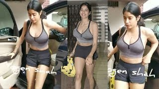 See Jhanvi Kapoor's H0T Thighs in W0rkout Shorts outside her Gym in Bandra
