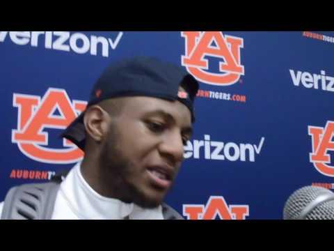 Auburn DB Josh Holsey gives a postgame interview following Auburn's 23-16 victory over Vanderbilt.