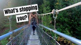 A suspension bridge and lava canyon | Cougar, Washington Lava Canyon